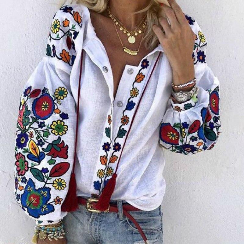 Otoño primavera mujeres cuello pico Puff manga suelta Blusas de moda de manga larga camisa Top estampado Floral playa Casual botón Blusas ropa