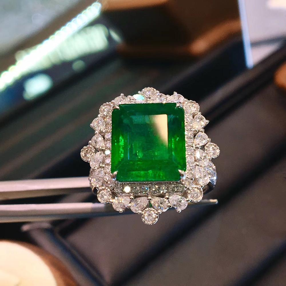 4.98 quilates real natural zambian esmeralda aniversário anel de casamento lado pedra nautral diamante anel 14k ouro branco para mulher