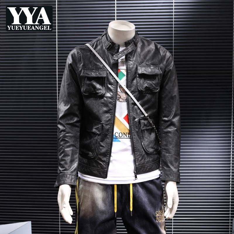 Autumn New Stand Collar Pockets Slim Fit Pu Leather Jacket Casual Short Faux Leather Coat Man Fashion Moto Biker Outwear Jackets