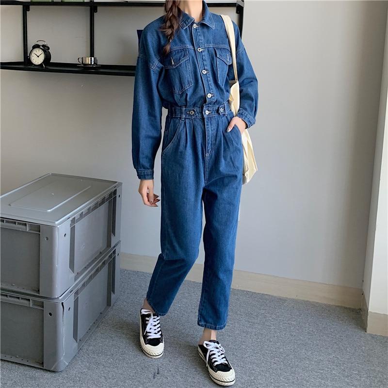 Women's Denim Jumpsuits Autumn Female Fashion Trousers Long Sleeve Wear to Work Overalls Elegant Slim Cargo Pant