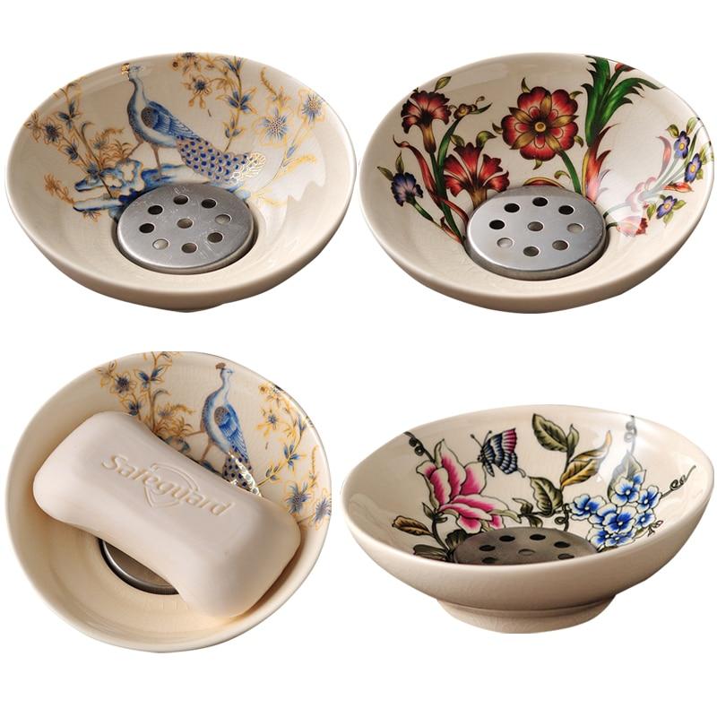 European-style round soap box high-end soap box creative double drain fashion soap dish hotel toilet soap dish enlarge
