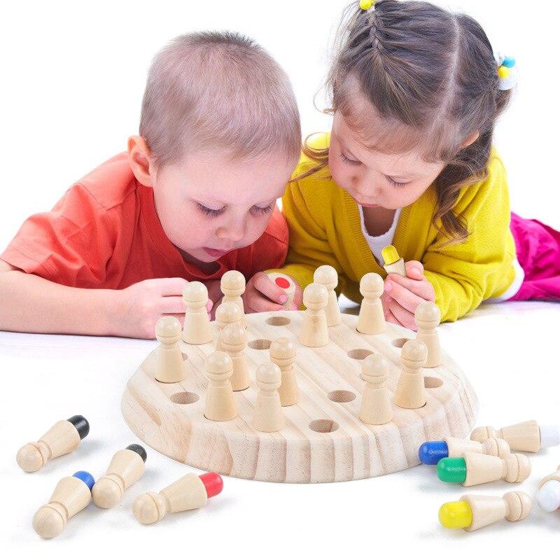 Juego de ajedrez con memoria de madera, juguetes educativos Montessori de Color, entrenamiento cognitivo del cerebro, fiesta familiar, juguetes para niños, regalo