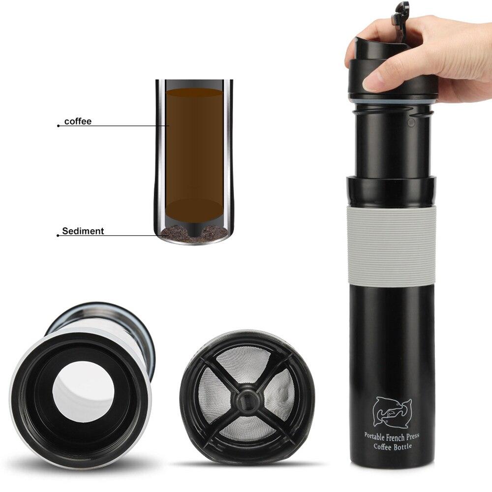 آلة صنع القهوة بالضغط الفرنسي المحمولة ، كوب سفر معزول بالفراغ ، مطحنة قهوة من الفولاذ المقاوم للصدأ ، DIY