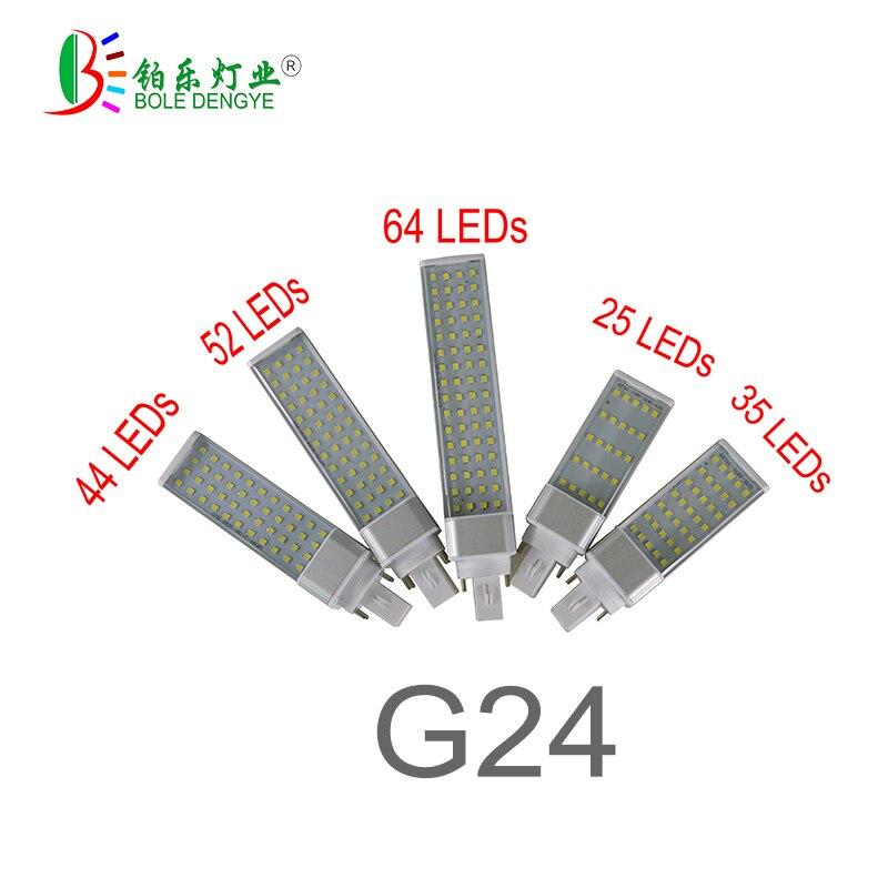 G23 G24 E27 bombilla led para lámpara 5730/2835 luz blanco cálido/blanco frío claro foco 180 grados Luz de enchufe Horizontal PL tubo LED