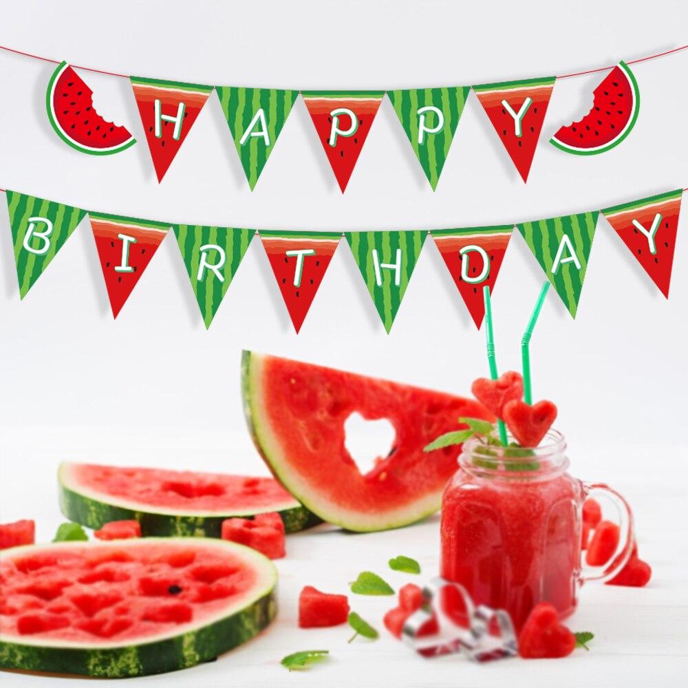 Детский душ арбуз с днем рождения баннер украшения для вечеринок своими руками стены сладкий арбуз Висячие баннеры детские праздничные сув...