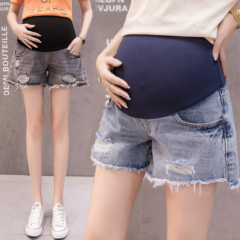 Spring Summer Maternity Short Pants Pregnancy Shorts Jeans Belly Lift Pants Shorts for Pregnant Women