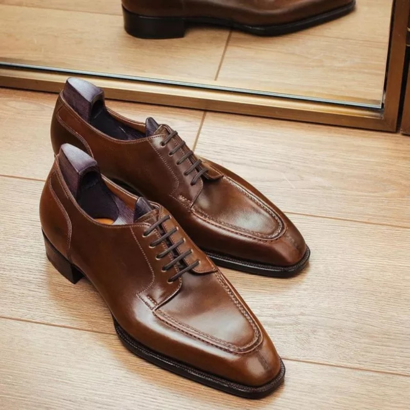Men's Handmade PU Low Heel Pointed Toe Strap Classic Retro Fashion Trend All-match Formal Business C