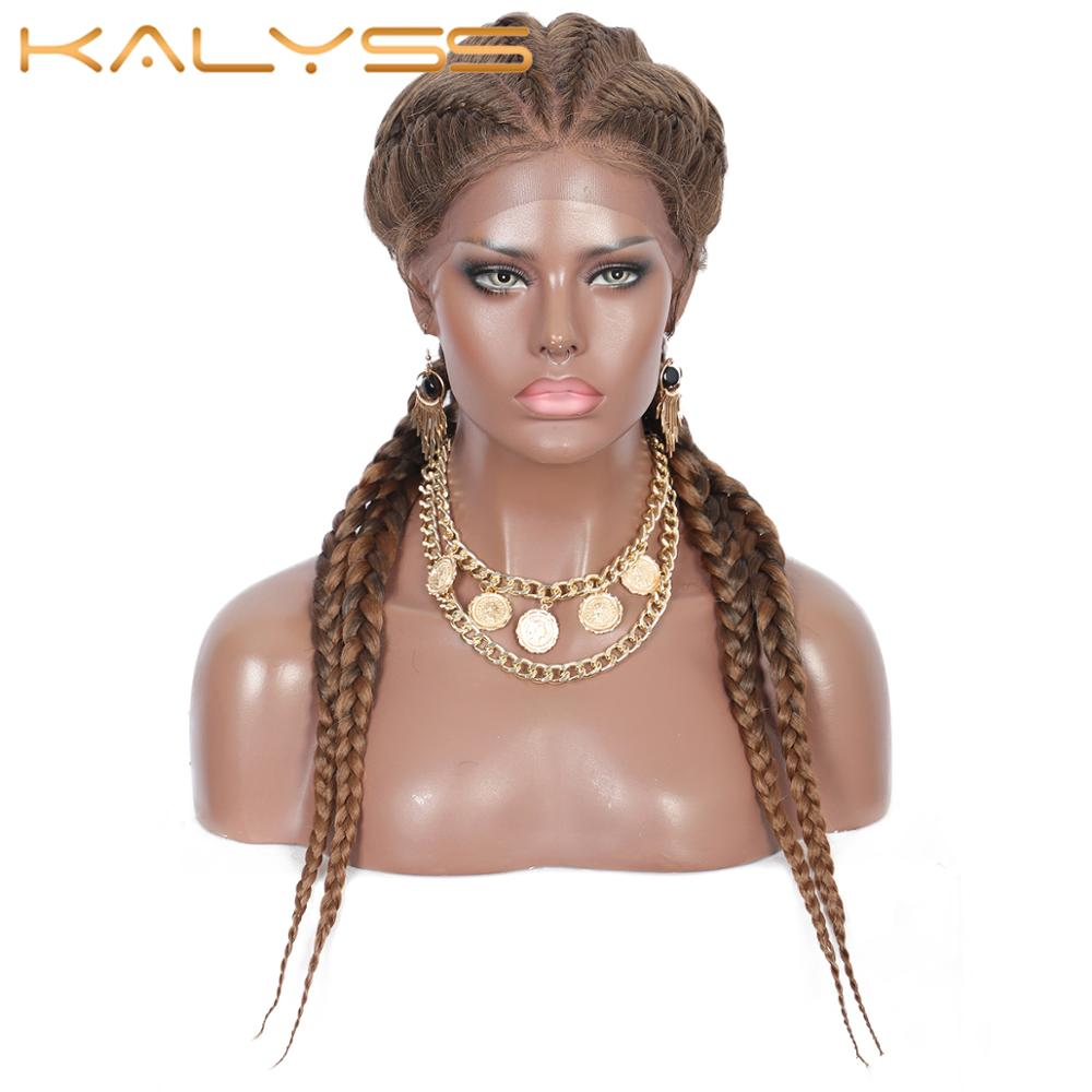 Kalyss 26 Inches Hand Braided Synthetic Lace Front Cornrow Wigs 4 Ponytails Soft Lace Frontal Twist Braided Wigs with Baby Hair