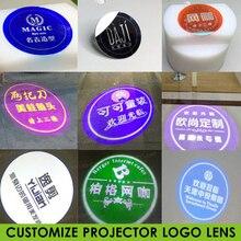 Logotipo personalizado proyector Lente de Cristal 37mm-27mm diámetro tienda centro comercial KTV patrón de texto Logo publicidad iluminación Gobo proyección