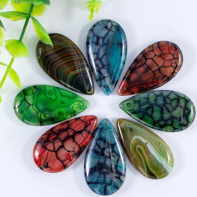 Fubaoying druzy ágata vermelha natural pingente colar pedra listra dragão veias waterdrop 19x35mm 10 pçs encantos para fazer jóias