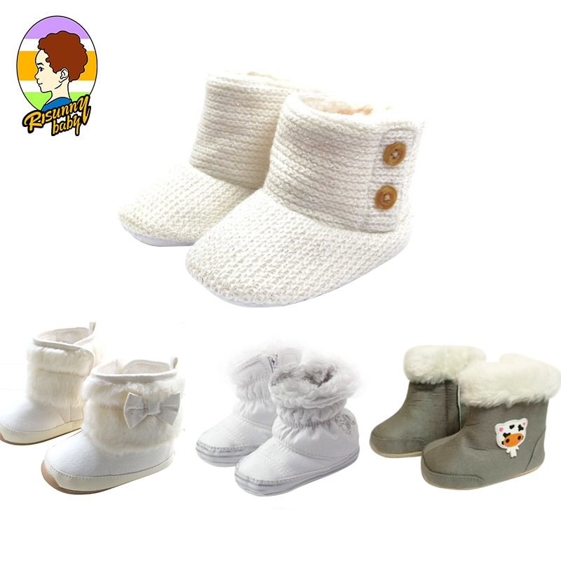 Risunnybaby Baby Shoes Newborn Winter First Walkers Cotton Shoes Infant Toddler Soft Sole Anti-Slip
