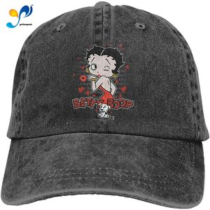 Betty Boop Classic Kiss Cowboy Hat Baseball Casquette Printed Trucker Cap Headgear Black