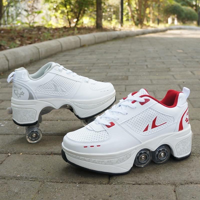 تشوه باركور أحذية أربع عجلات جولات من احذية الجري زلاجات دوارة أحذية الكبار الاطفال للجنسين