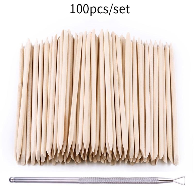 100pcs/set 50pcs/set Women Lady Double End Nail Art Wood Stick Cuticle Pusher Remover Pedicure Profe
