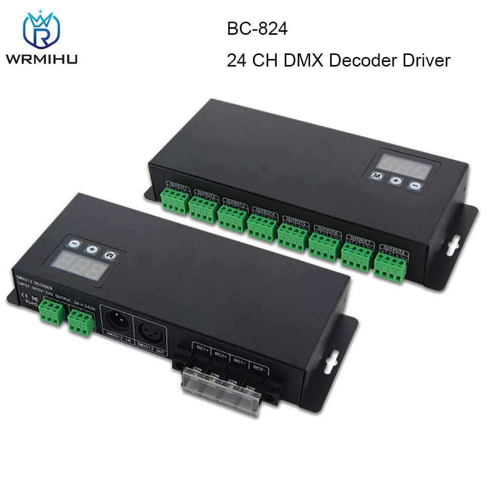 BC-824 3A * 24CH DMX512 декодер DC5V-24V входное напряжение DMX512/1990 3-значная цифровая трубка отображает DMX код адреса