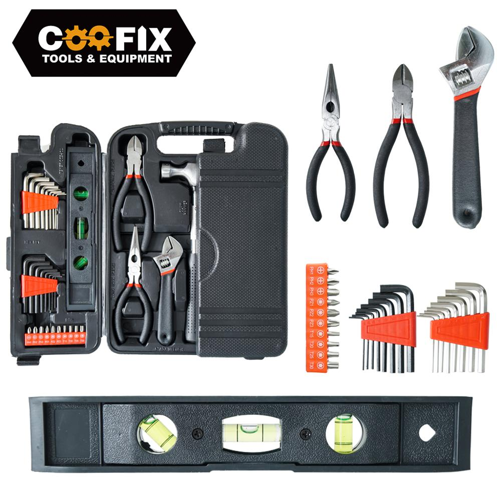 COOFIX 130PCS Hand Tool Set General Household Repair Hand Tool Kit with Plastic Toolbox Electrician Wire Cutter Set