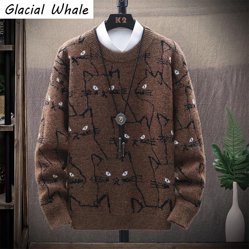 GlacialWhale мужской вязаный свитер мужские зимние винтажные свитера; Пуловер, свитер Harajuku в Корейском стиле Стиль повседневная хаки мужские сви...
