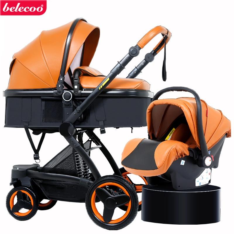 Belecoo-عربة أطفال 2 في 1/ 3 في 1 ، عربة أطفال بمناظر طبيعية عالية ، ممتص صدمات من الجلد البيئي ، عربة بأربع عجلات ، شحن مجاني