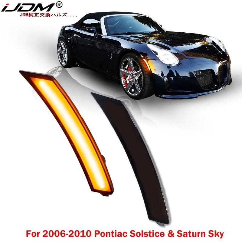 IJDM przydymione soczewki Amber LED zderzak boczne światło znacznikowe dla 2006-2010 Pontiac przesilenie i Saturn Sky, wymienić OEM przednie sidemarkery