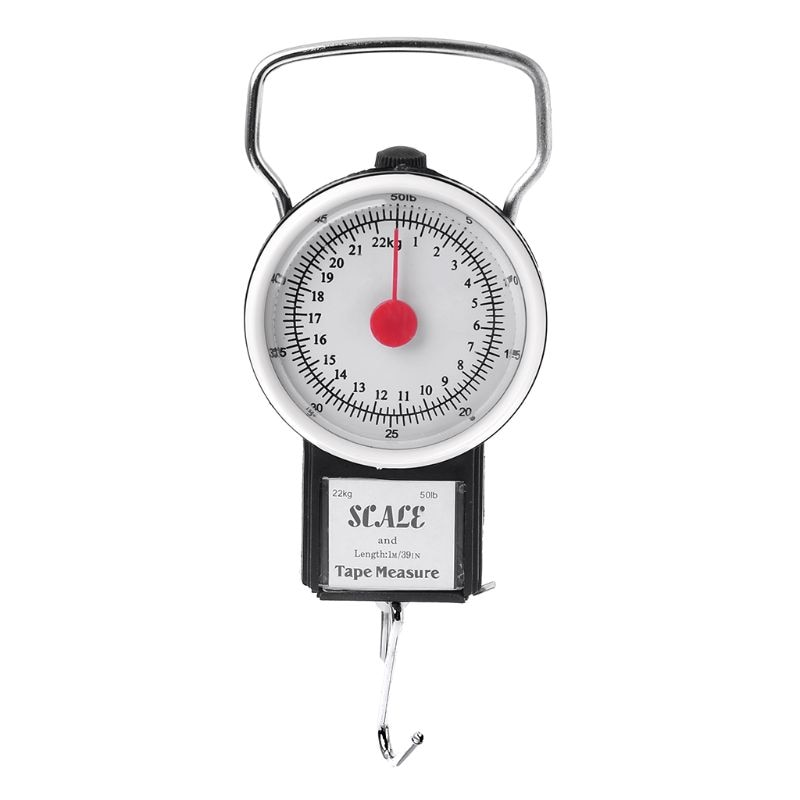 22kg/50lb Portable Hanging Scale Balance Fish Hook Weighing Balance Kitchen With Measuring Tape Measure Fishing Scales