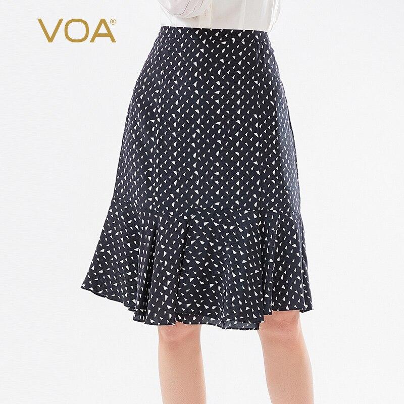 VOA silk black fun triangle print mid waist bag hip ruffle stitching hem simple skirt fishtail skirt  CD081