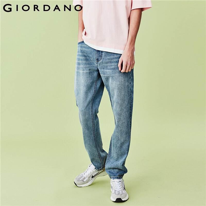 Giordano Men Jeans Mid Rise Straight Denim Jeans Cotton Multi Pocket Loose Straight Calca Jeans Masculina 01110069