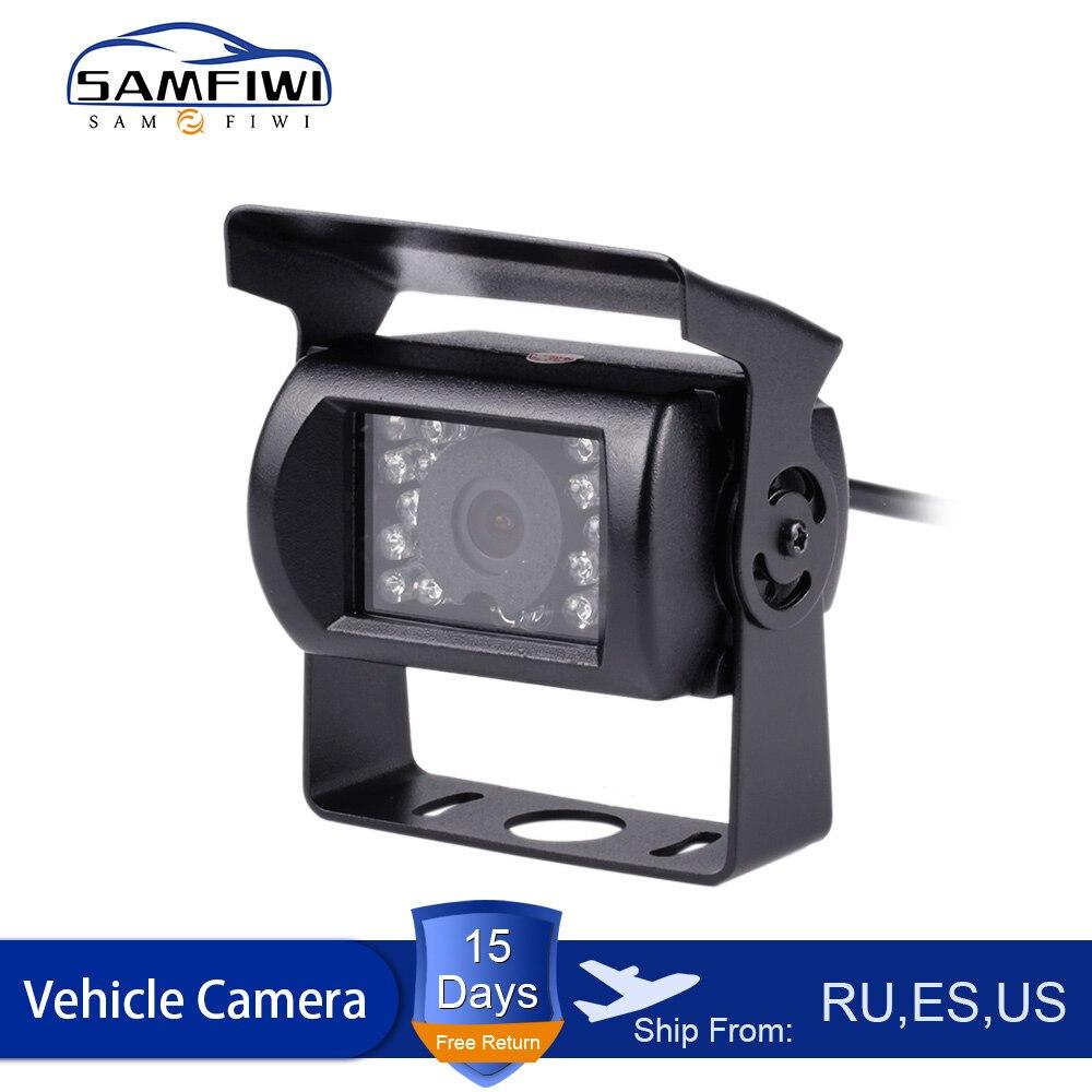 Impermeable 18 LED IR visión nocturna vista trasera de coche cámara de respaldo de estacionamiento de marcha atrás para 9V-35V Bus camión autocaravana vehículo