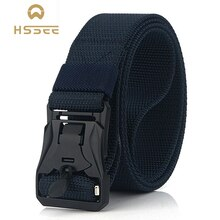 HSSEE New Mens Tactical Belt Hard Metal Quick Release Magnetic Buckle Mens Military Nylon Belt 3mm Soft Real Nylon Sports Belt