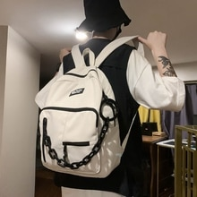 New Solid Color Hip-Hop Women Backpack Female Nylon Large Capacity Travel Bag College Students Schoo