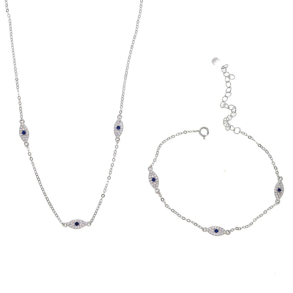 Set de collar de pulsera Evil eye elegance para mujer, regalo de fiesta, joyería de plata de ley 100% 925, 3 uds, lindo ojo, encanto, conjunto de joyería 925