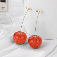 2020 Korean Acrylic Oversized Fruit Cherry Drop Earrings Fashion Statement Women's Geometric Red Cherry Earrings Bijoux Jewelry