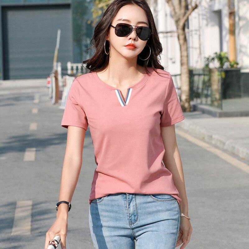 Poleras Mujer De Moda 2020 New Fashion T Shirt Women Short Sleeve V-Neck Tshirt Female Cotton T-Shirt Womens Tops Korean Clothes