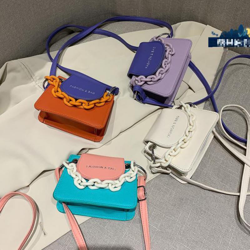 Fashion Hit Color Crossbody Bag Women 2021 Acrylic Chain Small Tote Lady Mini Shoulder Messenger Handbags Female Cross Body Bags