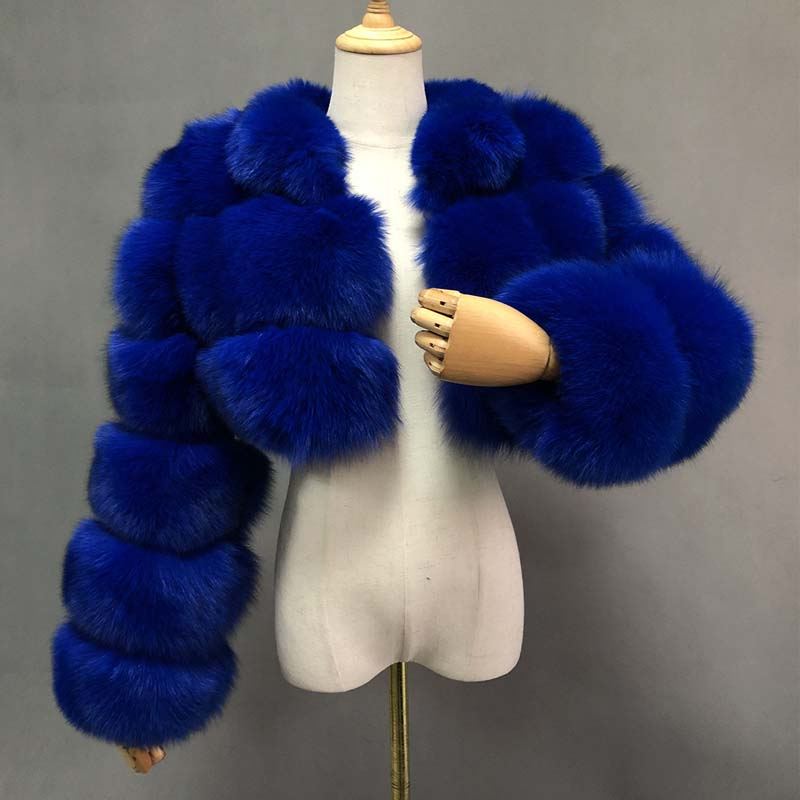 Hot Sale Short Faux Fur Real Photos Coats Fashion Royal Blue Turn-down Collar Long Sleeves Spliced Warm Winter Overcoats Women