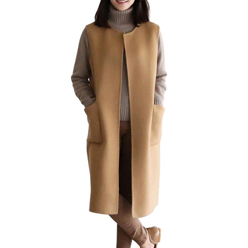 Chaleco de talla grande para mujer, chaqueta largo sin mangas, cuello redondo, bolsillo, elegante chaleco negro de Cachemira Camel, cárdigan cálido de Invierno para mujer