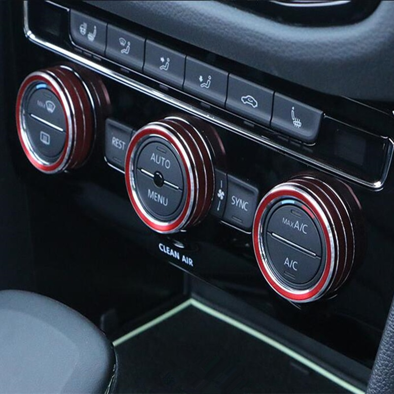 De aleación de aluminio para ControL Central de aire acondicionado perilla de volumen anillo decoración recorte cubierta para VW Volkswagen Tiguan 2017