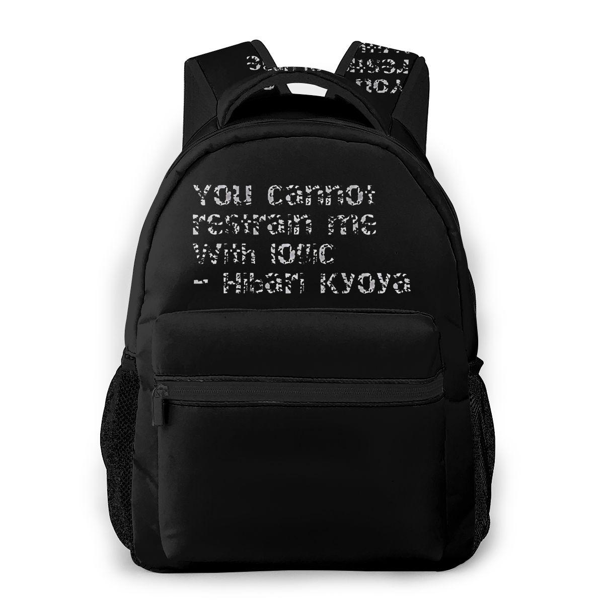 Bolso de hombro HITMAN REBORN para adolescentes, mochila para estudiantes Hibari Kyoya con frase de moda