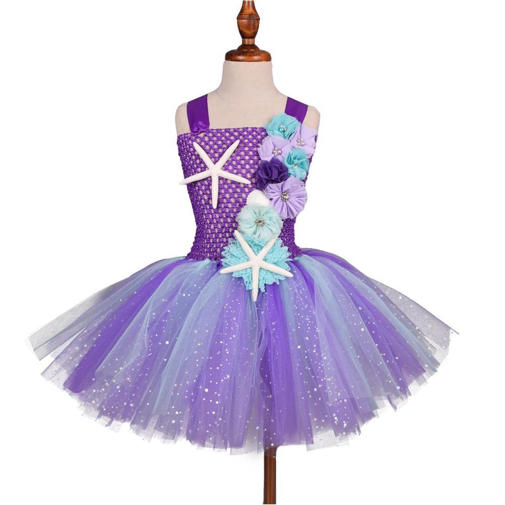 New Girls Mermaid Tutu Dress Under the Sea Birthday Party Costume with Flower Headband Ocean Dresses 1-12Y