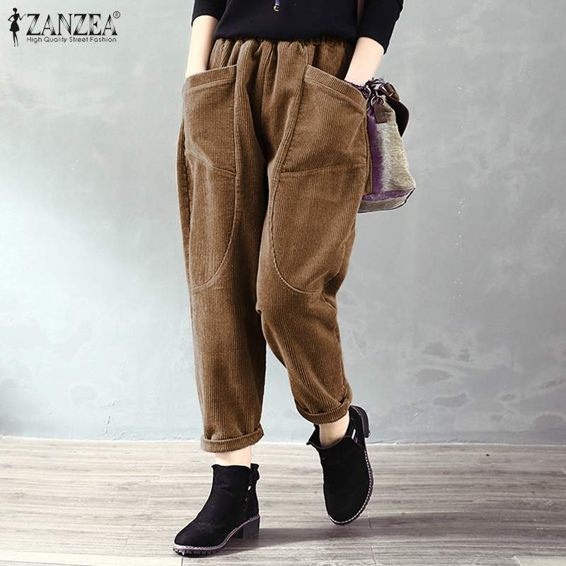 Pantalones de pana sólida de primavera ZANZEA Casual cintura elástica suelta Turnip Pantalones de mujer Vintage largos Harem pantalones Pantalon Palazzo 7