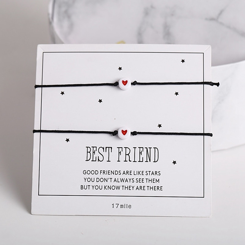2 uds colgante de corazón pulsera, mejor amigo brazalete a juego Bff pulseras de la Amistad regalo pulsera del corazón