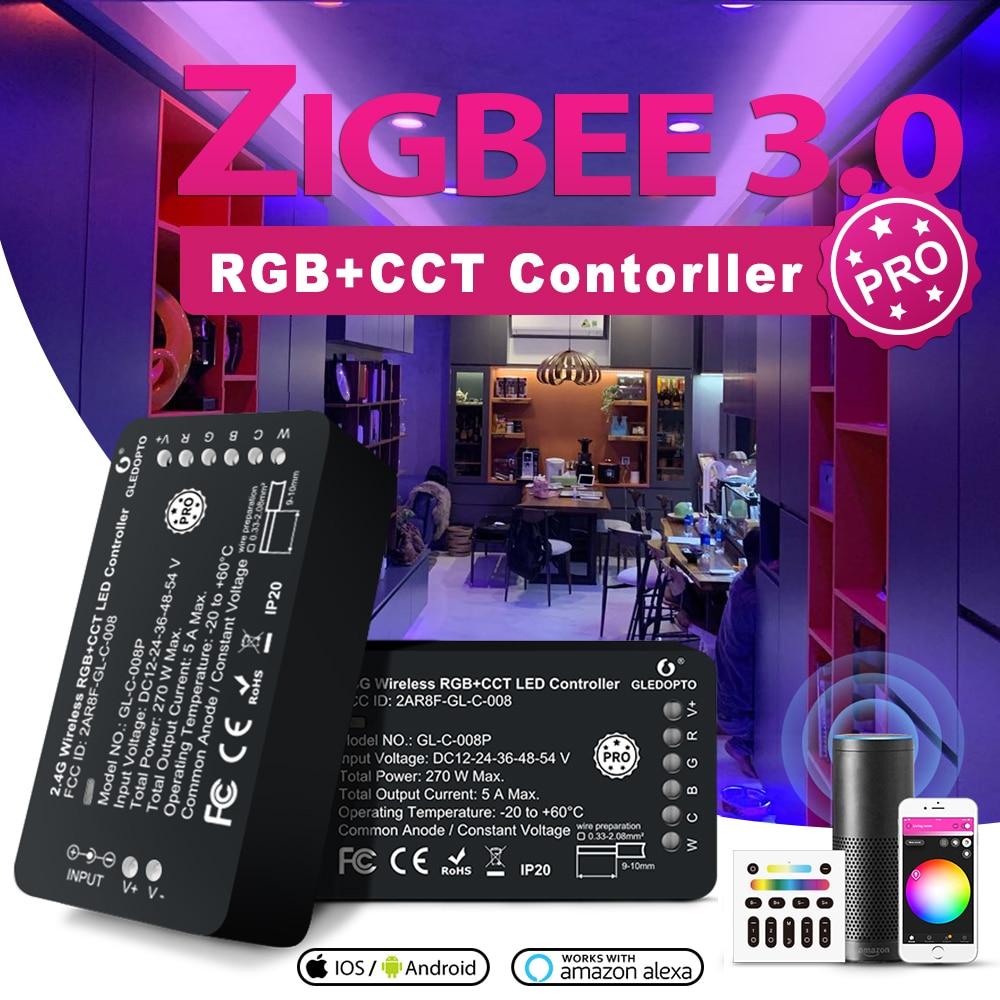 zigbee hub led controller led rgbw rgbcct wwcw dimmer timer zigbee controller comptible with amazon echo plus app control GLEDOPTO ZigBee 3.0 LED Controller Pro RGBCCT Strip Controller Smart APP Voice Control work with Amazon Echo Plus SmartThings RF