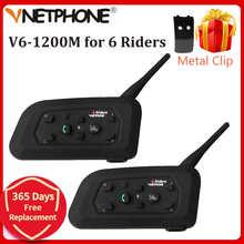 2PCS 1200M Motorcycle Bluetooth Helmet Intercom for 6 riders BT Wireless Waterproof Interphone Headsets MP3 Free Shipping!!