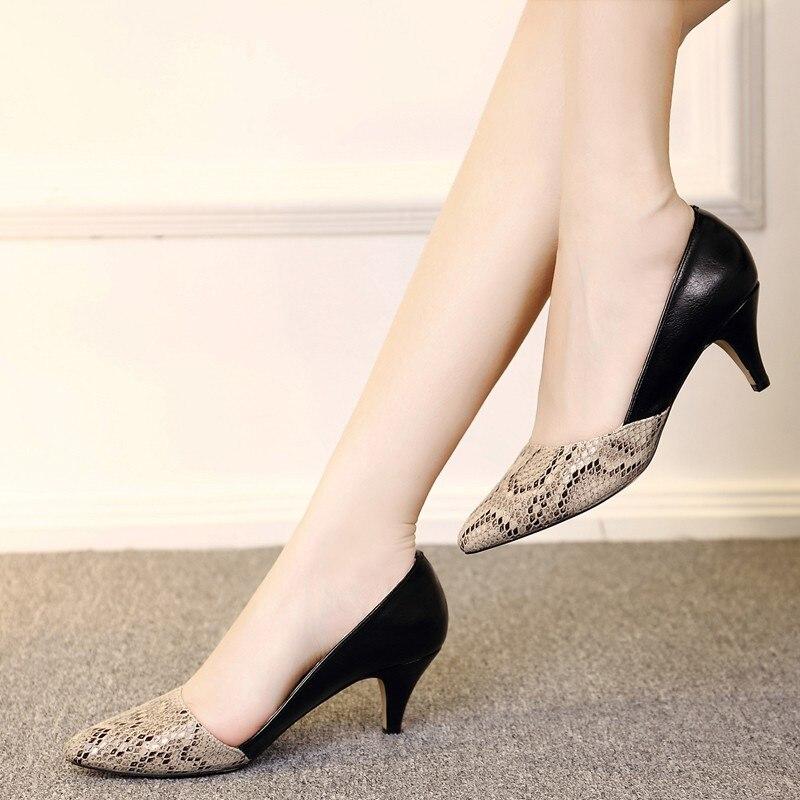 Zapatos de vestir de tacón alto de 5cm y 8cm con diseño de serpiente para mujer, zapatos náuticos con punta dentada, zapatos de oficina para mujer 7933N