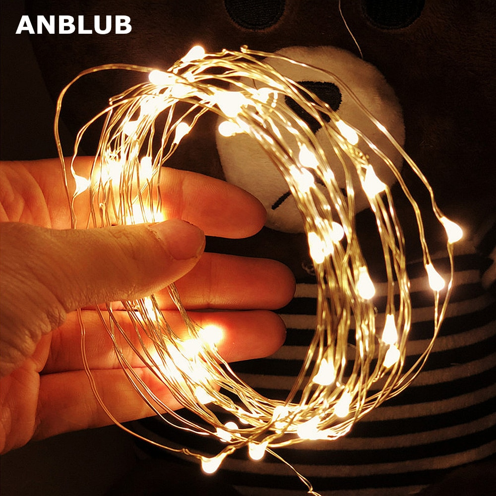 2M 5M 10M LED String lights Silver Wire Christmas Garlands Festoon led Fairy Light Christmas Decorations for Home Room Tree