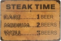 retro tin signs vintage style steak time metal sign iron painting for indoor outdoor home bar coffee kitchen wall decor