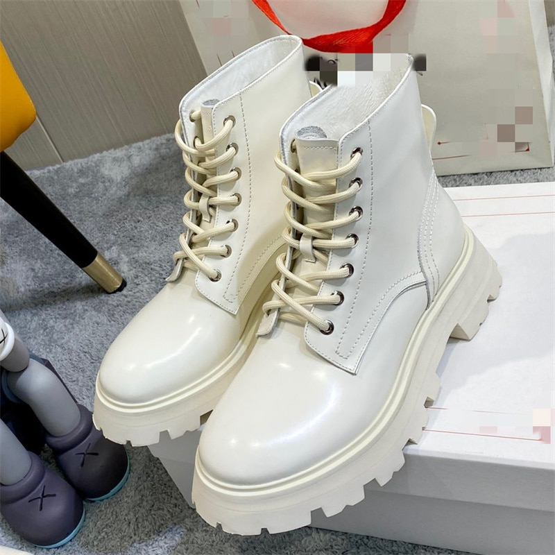 Women's platform boots fashion plus size 2021 new high-top running shoes motorcycle boots women's running shoes lace-up ankle bo