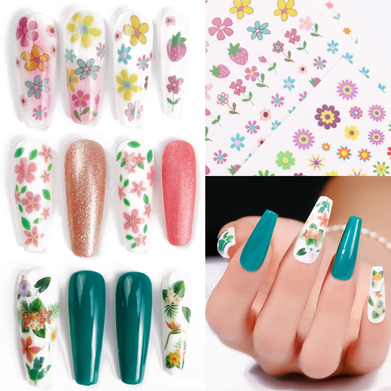 1Pcs Nail Art Water Decals Stickers Transfers Spring Summer Dried Flower Effect Water Wild Flowers Botanical Plants Fern Leaf