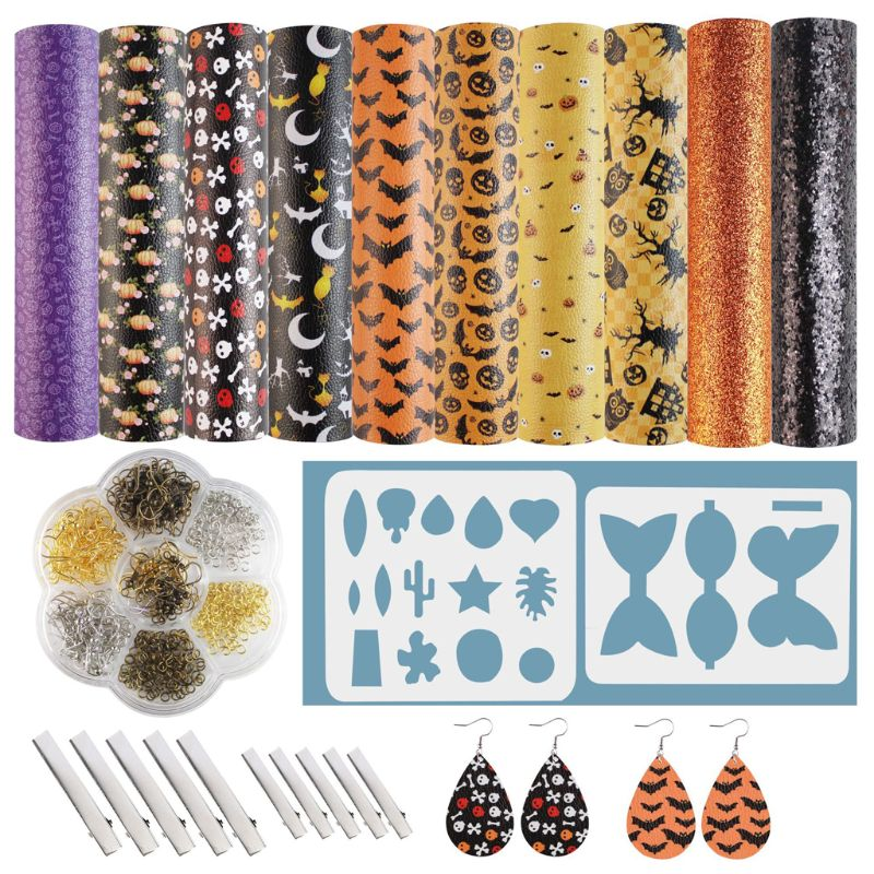 2021 New Halloween Leather Earring Making Kits Hairpin Bow Cut Templates Earrings Making