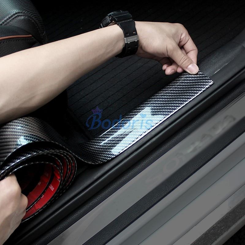 Para toyota land cruiser prado 120 fj120 2003-2009 fibra de carbono cor protetor de borracha tiras do peitoril da porta carro-estilo acessórios