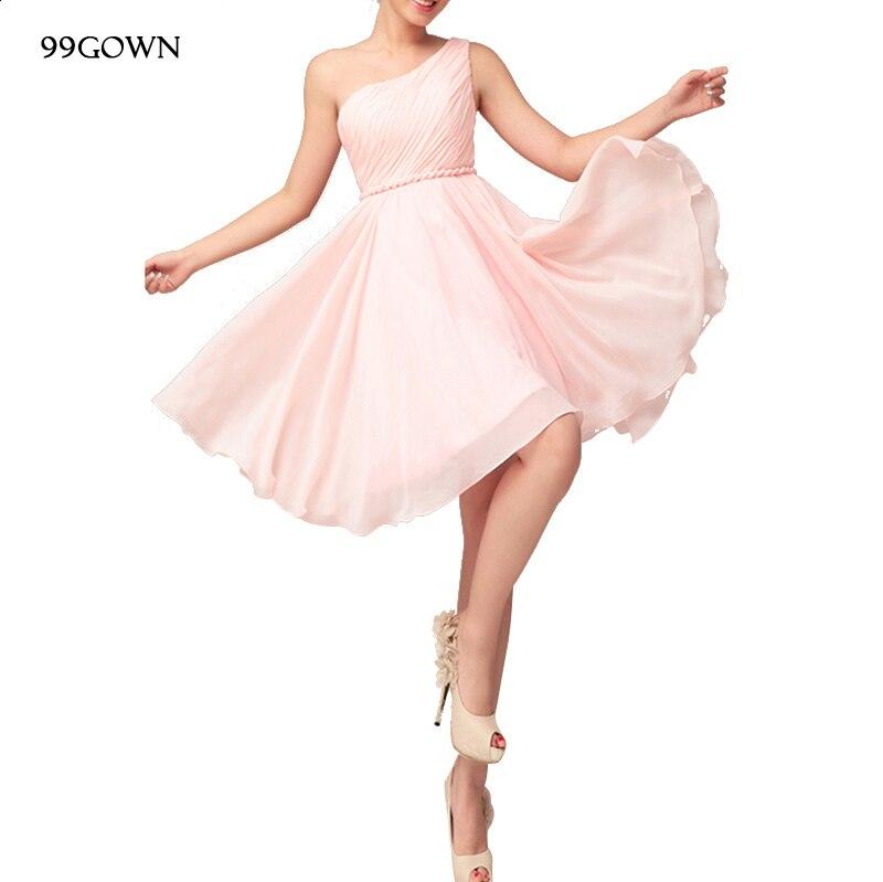 Шифоновое платье для девочек, недорогие Простые платья для свадебных гостей, короткое сексуальное плиссированное платье на одно плечо в ст...